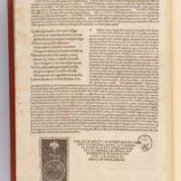 Last page of the edition, with the last four terzine of Paradiso, surrounded by the commentary by Cristoforo Landino. The printer's colophon appears at the bottom left.