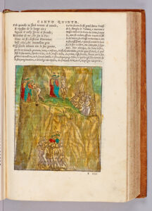 Dante and Virgilio continue their journey, happening upon Sordello of Mantua, who hugs his countryman, Virgilio, and offers to guide them to the entrance to Mount Purgatory.