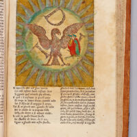 In the Sixth Heaven, the Sphere of Jupiter, Dante and Beatrice watch as the souls move to form letters with their glowing bodies. The M transforms into an eagle, an emblem for Imperial Rome and symbol of justice.